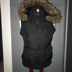 Black Vest W/Removable Fur Hood